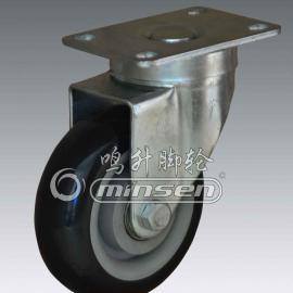 中型4寸双轴黑PVC脚轮