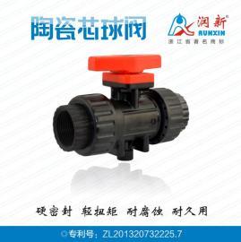 润新 DN25手动塑料内螺纹直通陶瓷芯球阀Q110-25