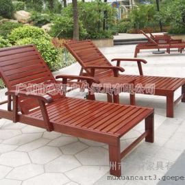 厂家热销户外实木沙滩椅,酒店实木躺椅,泳池沙滩椅