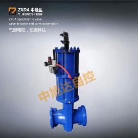 KZF控制阀 气动衬胶管夹阀 碳钢材质法兰气动管夹阀