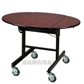 酒店饭店可移动带轮送餐车折叠客房送餐车不锈钢木桌子煮餐车