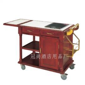 豪华鲍鱼车(配电磁炉)   手推车 木制送餐服务车