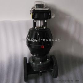 带反馈信号盖米气动隔膜阀UPVC材质法兰连接