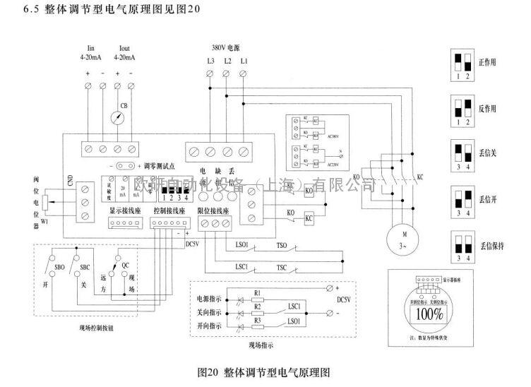 dzw10整体调节型防爆阀门电动执行器端子接线图图片