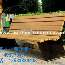 广州休闲双人椅 休闲长椅 铸铁扶手实木公园椅 公园椅