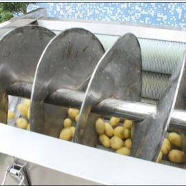 供应螺旋出料大型土豆 生姜等清洗脱皮机
