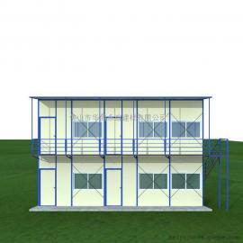 彩钢活动板房,单坡双层活动板房122.47平方(同占地有单层)