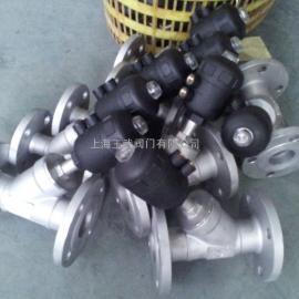 塑料头气动法兰角座阀,法兰式气动角座阀 气开/气关型
