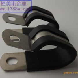 恒美斯不锈钢单管夹,双管夹,多管夹,带胶连胶条卡箍