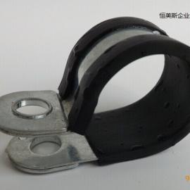 恒美斯高钢性超薄全包胶不锈钢管夹