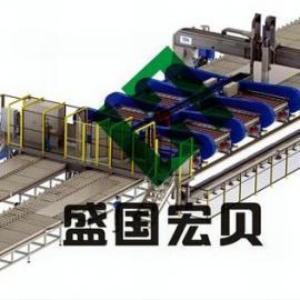 盛国宏贝纵向激光焊接切割拼板流水线,拼板激光焊接线