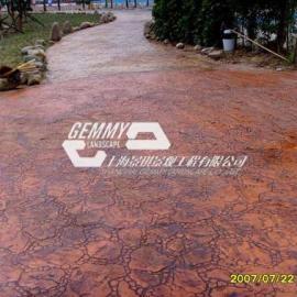 景观仿石压模地坪/水泥压花地面材料/彩色透水地坪