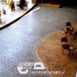 上海仿石地坪厂家|松江雪浪湖压模地坪施工案例|青浦艺术地坪