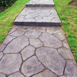 古塔鹅卵石艺术地坪价格|黑山压模地坪|锦州水泥仿木压花地坪