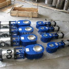 气动陶瓷双插板阀,耐磨进料阀,双闸板出料阀