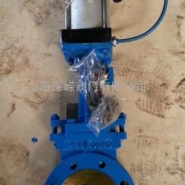 气动刀型浆闸阀,PZ643H不锈钢气动闸板阀