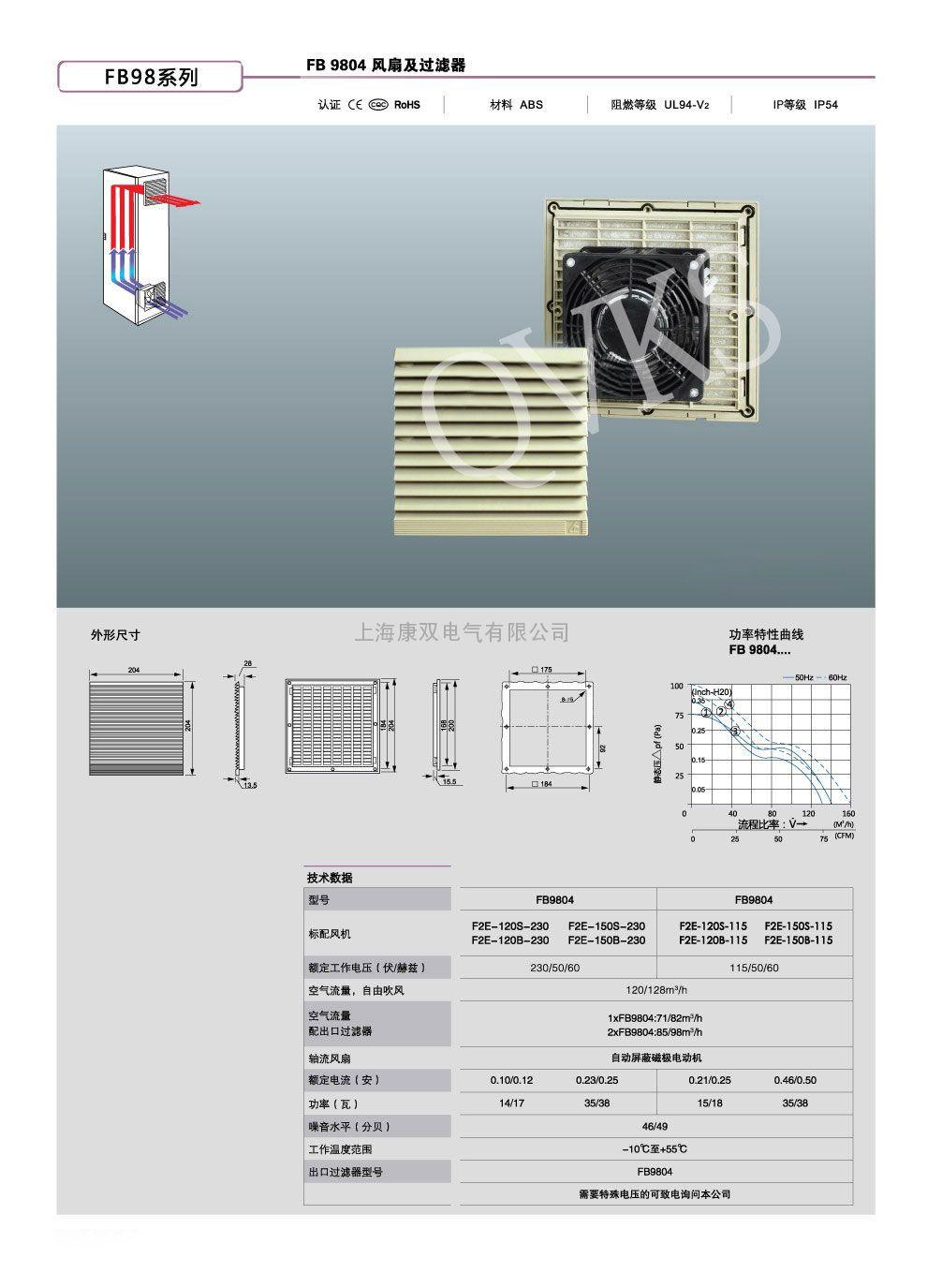 FB9804/F2E-120S-230康双电柜散热风扇