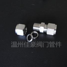 不锈钢卡套式接头 双卡套式中间接头 卡套式直通接头