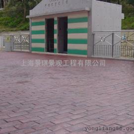 福州艺术地坪|晋安景观鹅卵石路面铺装|闽侯彩色水泥压模地坪