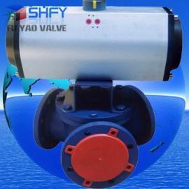 气动Y型三通球阀-铸钢气动Y型三通球阀