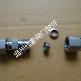 304不锈钢双卡套式直通中间管接头,卡套中间气源管接头