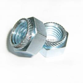 天津六角压铆螺母--六角斜花齿压铆螺母-M6斜花齿螺母