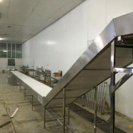 速冻食品冷冻输送带 平板分摊摆头输送带
