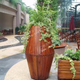步行街木制花箱,楼盘实木花箱,广州塑木花箱厂家