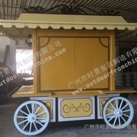 西安商业街移动售货亭 长沙公园木制移动手推车  丽江景区贩卖车