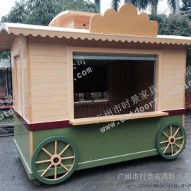 玉林广场移动售货车 遵义步行街木制售货车 电影院木制售货亭
