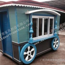 公园流动售货亭 商业街木制售货亭 游乐场实木售货车