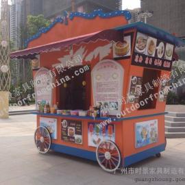 长沙公园仿古售货亭 武汉步行街售货亭 广场移动木制售货车