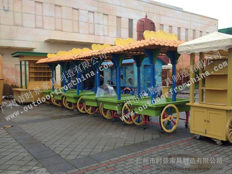 儿童游乐园移动售货亭 广东游乐场零售车 游乐园仿古贩卖车