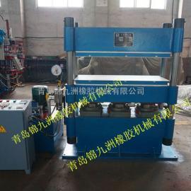 青岛柱式长条150t自动平板硫化机带手动推拉拖板一体式硫化机