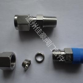 卡套直通终端接头 不锈钢卡套接头 锥螺纹终端直通管接头