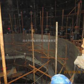 湖北襄阳电厂烟囱提升施工现场