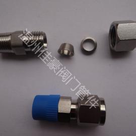 卡套式锥螺纹对接直通管接头 不锈钢卡套式直通终端活接头