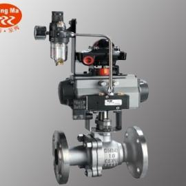 Q641F-16C DN15铸钢气动法兰球阀,碳钢气动球阀