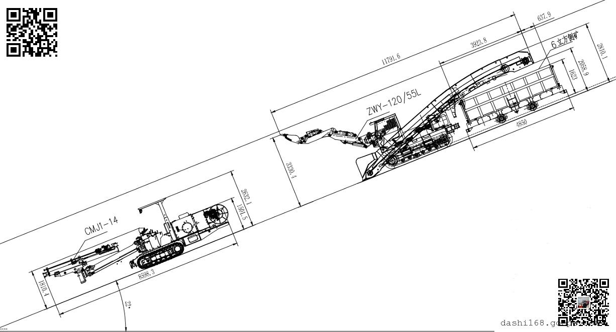 煤矿下山斜井扒渣机驾驶室采用开式设计,结构简单坚固,视野开阔.图片