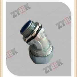 45度锌合金箱接头厂家,电厂专用防腐防锈防水金属软管接头