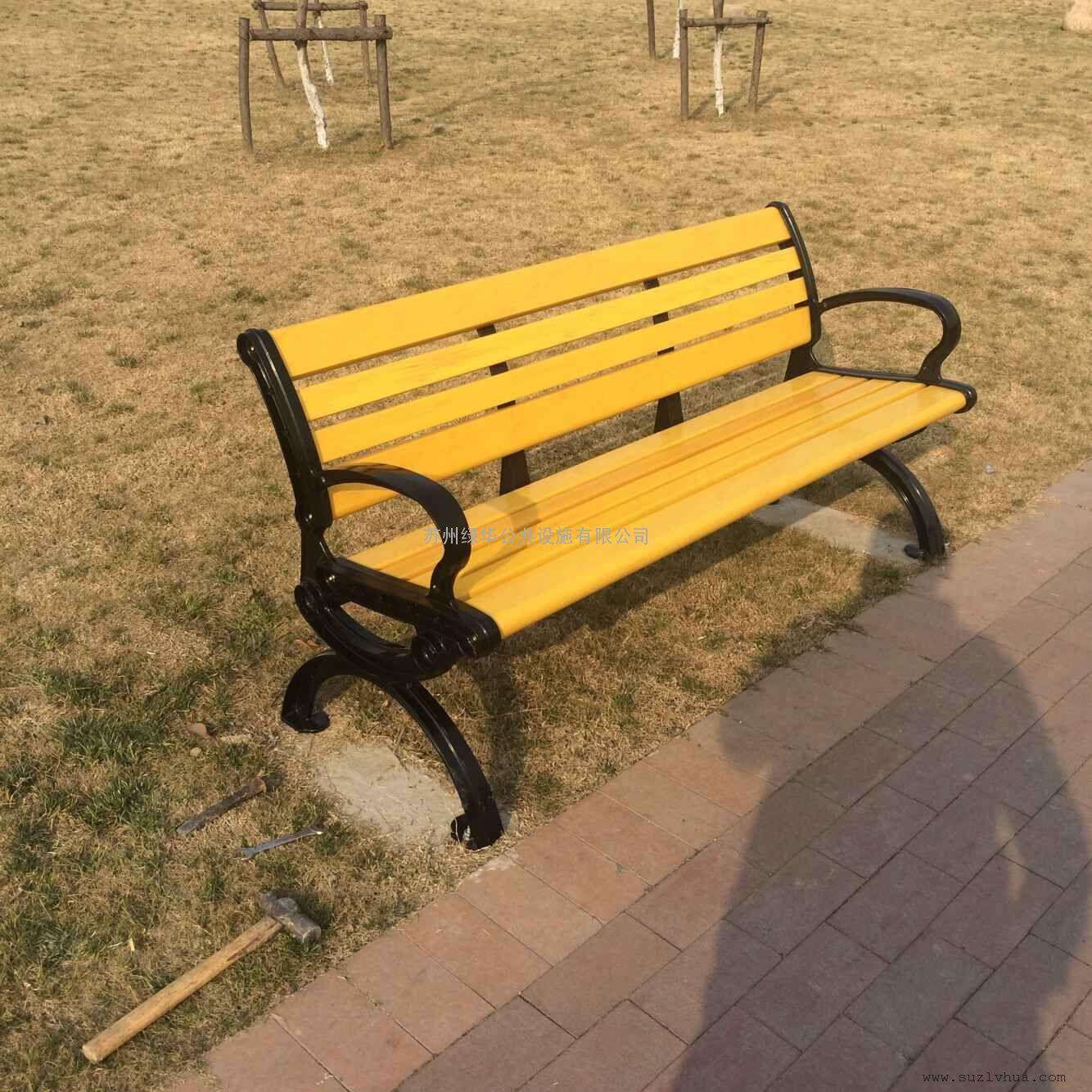 常熟铸铝塑木休闲椅,常熟户外长条凳