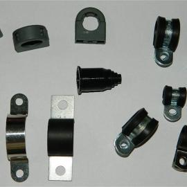 供应福莱通R型连胶条喉箍 金属包胶线夹厂家