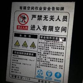 双面警示标示牌,有限空间作业配备禁止入内