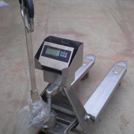 合肥YCS-1T手推式不锈钢电子秤搬运车尺寸/不锈钢地牛秤