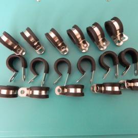 供应R型不锈钢包胶条管夹 包胶线夹厂家加工