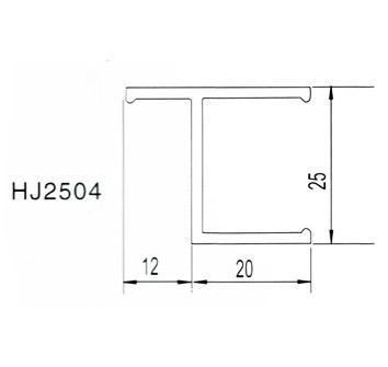 25*25老式窗料 净化铝材HJ2504 本色/喷塑 铝材配件 净化铝材配件