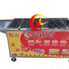 全自动旋转液化气烤鸡炉,节能燃气摇滚烤鸡车