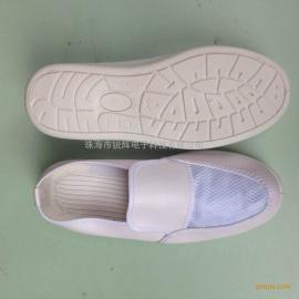 广州SPU舒适防滑底皮革面防静电透气网面鞋批发