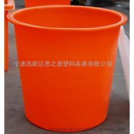 厂家供应600L铁手柄圆桶  塑料M型圆形食品桶