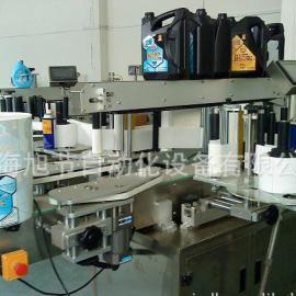润滑油桶双侧面�N��C 不干胶全自动双面贴标签机